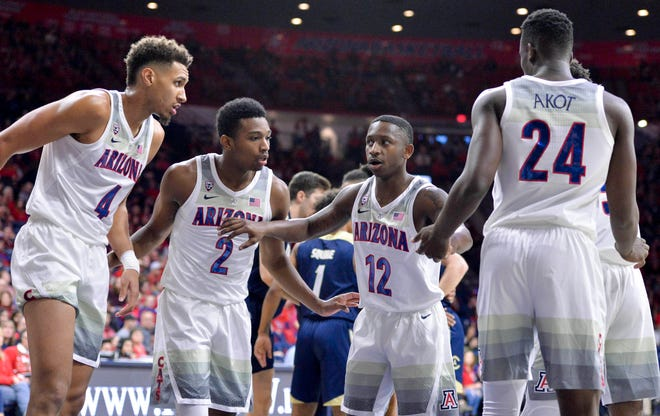 Dec 22, 2018; Tucson, AZ, USA; Arizona Wildcats center Chase Jeter (4) (left) guard Brandon Williams (2) guard Justin Coleman (12) and guard Emmanuel Akot (24) (right) huddle during the first half against the UC Davis Aggies at McKale Center. Mandatory Credit: Casey Sapio-USA TODAY Sports