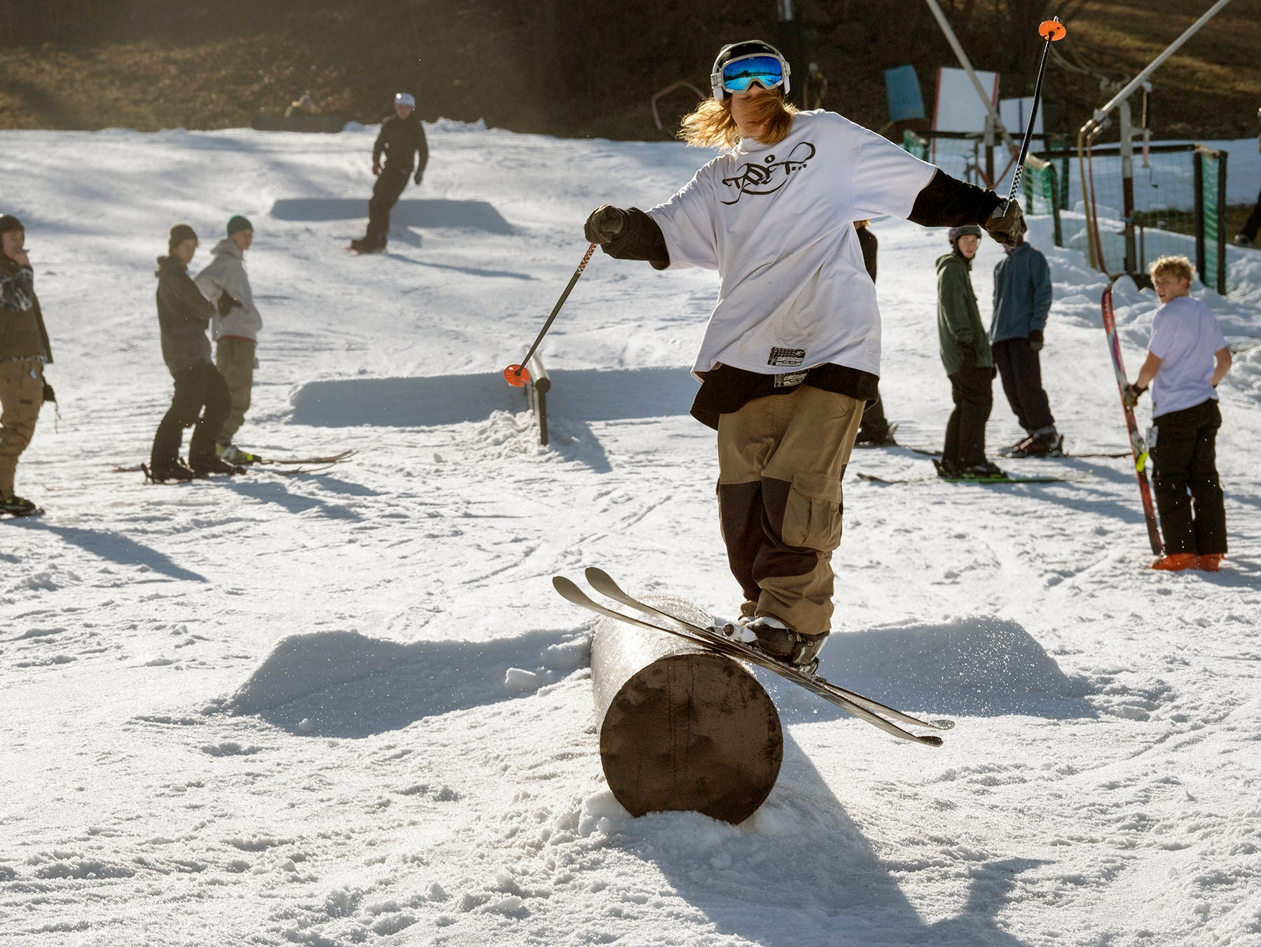 Skiers come through the freestyle area at Roundtop Mountain Resort.
