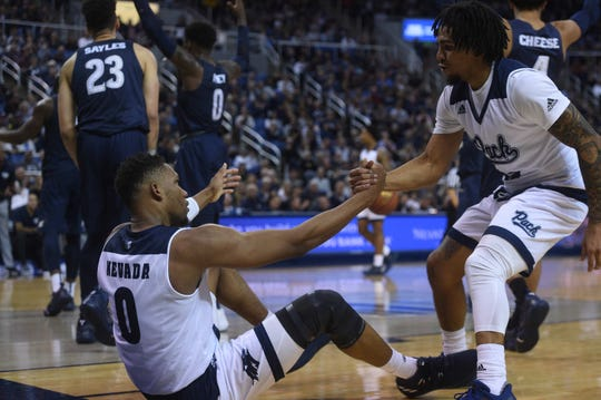 Nevada takes on Akron during their basketball game at Lawlor Events Center in Reno on Dec. 22, 2018.