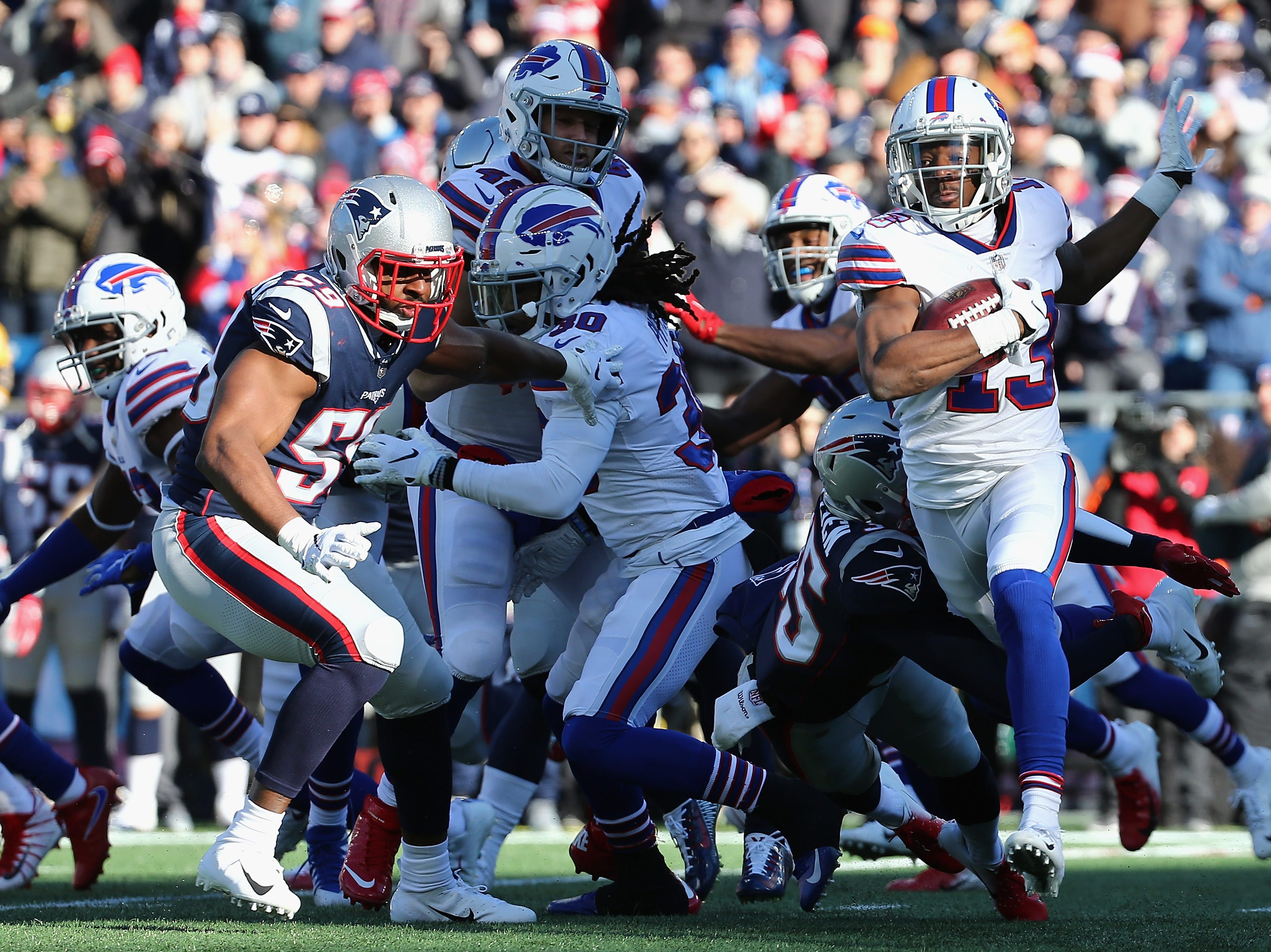FOXBOROUGH, MA - DECEMBER 23:  Victor Bolden Jr. #13 of the Buffalo Bills runs with the ball during the first half against the New England Patriots at Gillette Stadium on December 23, 2018 in Foxborough, Massachusetts.  (Photo by Jim Rogash/Getty Images)
