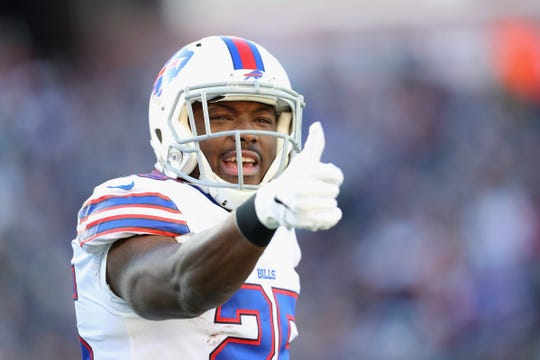 Buffalo Bills running back LeSean McCoy reacts during the first half of a game against the New England Patriots on Dec. 23.
