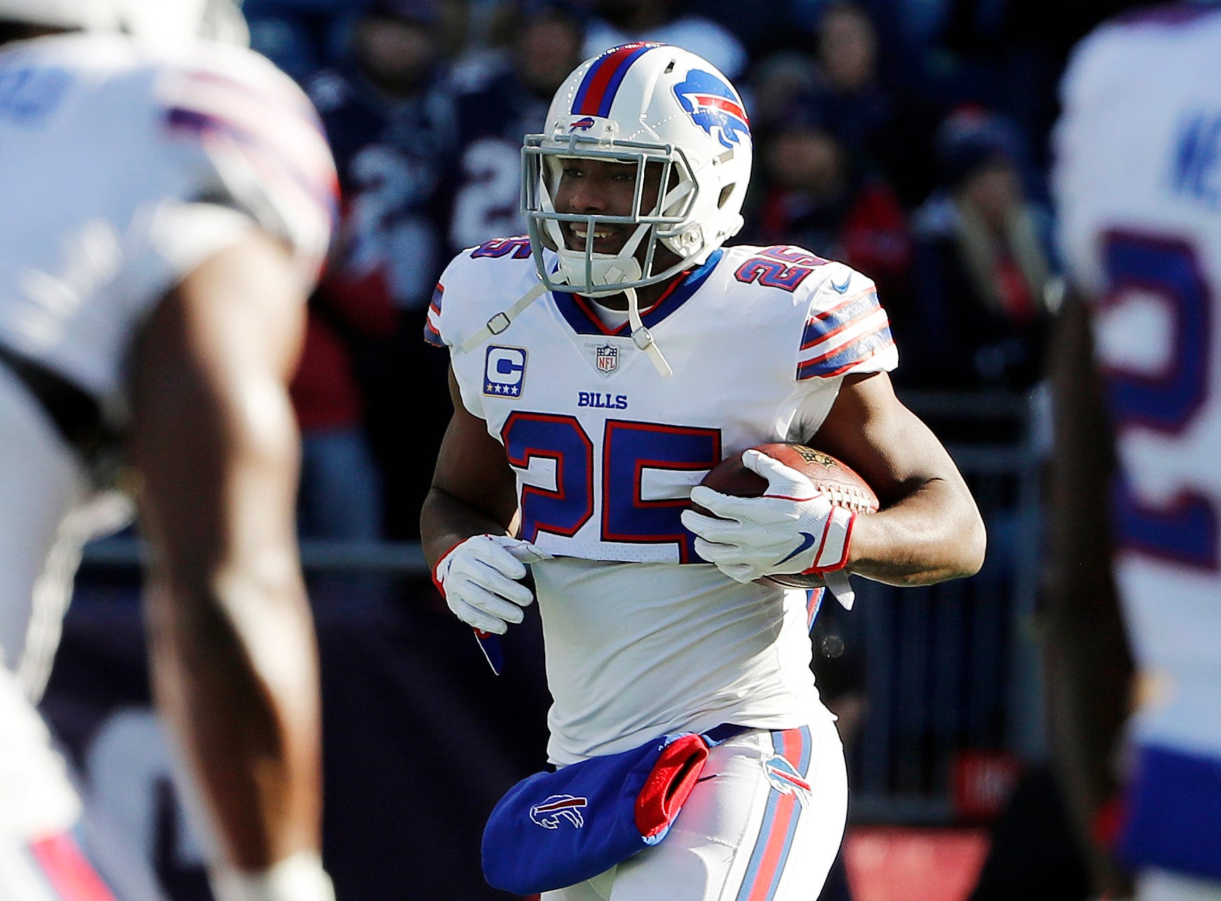 Dec 23, 2018; Foxborough, MA, USA; Buffalo Bills running back LeSean McCoy (25) carries the ball before their game against the New England Patriots at Gillette Stadium. Mandatory Credit: Winslow Townson-USA TODAY Sports