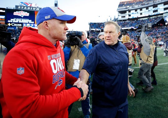 Dec 23, 2018; Foxborough, MA, USA; New England Patriots head coach Bill Belichick shakes hands with Buffalo Bills head coach Sean McDermott after New England's 24-12 win at Gillette Stadium. Mandatory Credit: Winslow Townson-USA TODAY Sports
