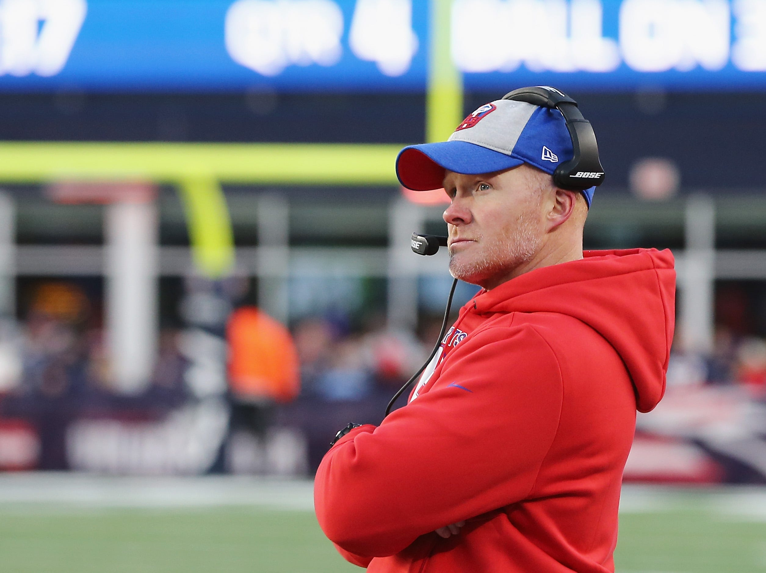 FOXBOROUGH, MA - DECEMBER 23:  Head coach Sean McDermott of the Buffalo Bills looks on during the second half against the New England Patriots at Gillette Stadium on December 23, 2018 in Foxborough, Massachusetts.  (Photo by Jim Rogash/Getty Images)
