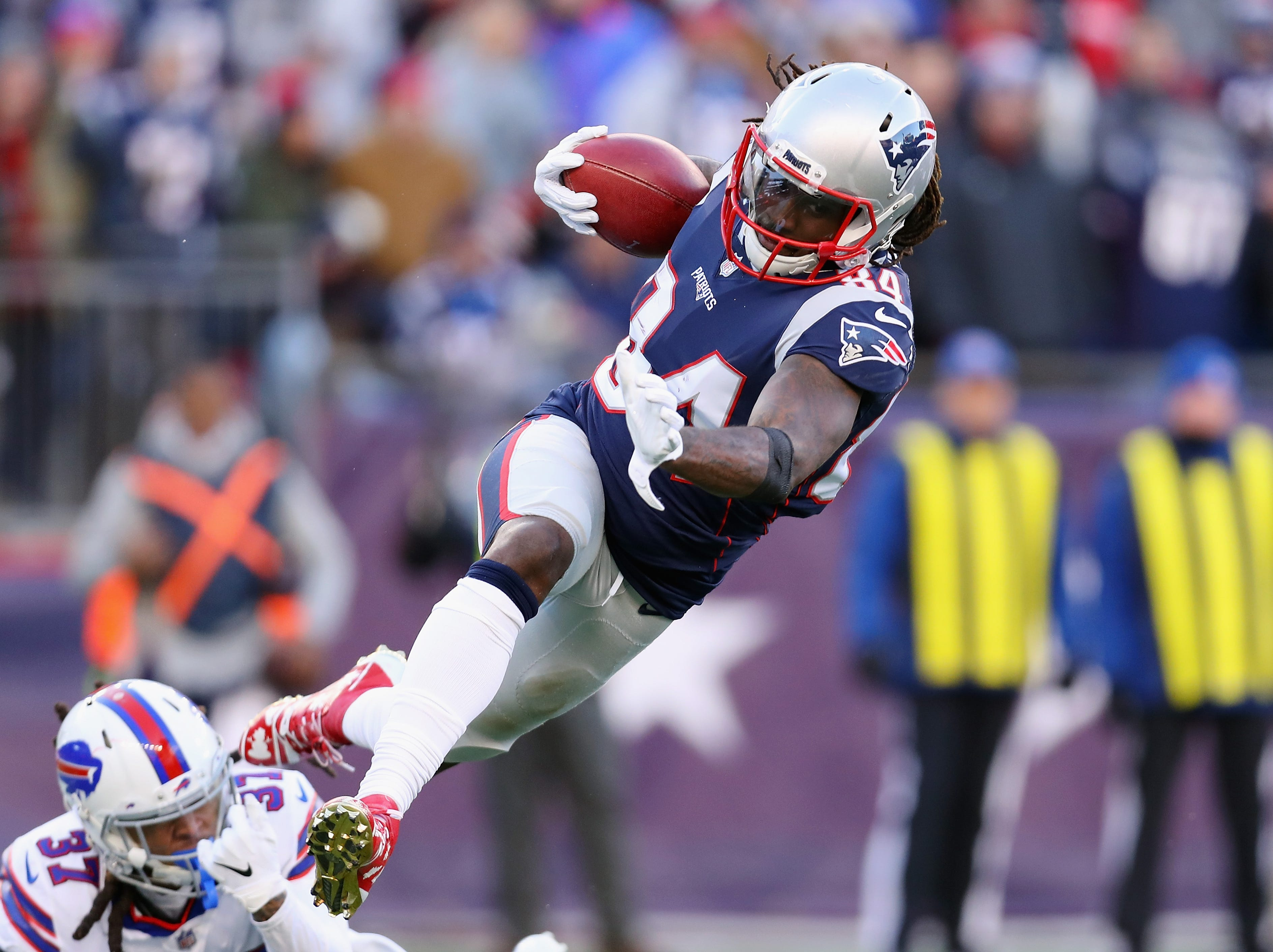 FOXBOROUGH, MA - DECEMBER 23:  Cordarrelle Patterson #84 of the New England Patriots is tackled by Denzel Rice #37 of the Buffalo Bills during the second half at Gillette Stadium on December 23, 2018 in Foxborough, Massachusetts.  (Photo by Maddie Meyer/Getty Images)