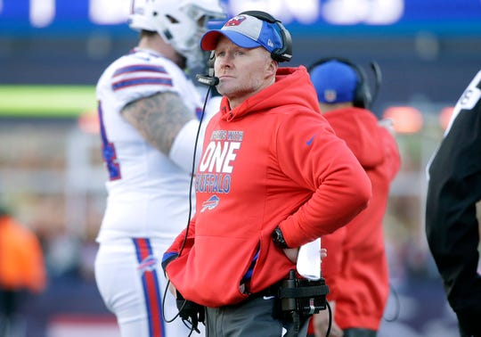Buffalo Bills head coach Sean McDermott watches from the sideline during the first half of an NFL football game against the New England Patriots, Sunday, Dec. 23, 2018, in Foxborough, Mass. (AP Photo/Steven Senne)