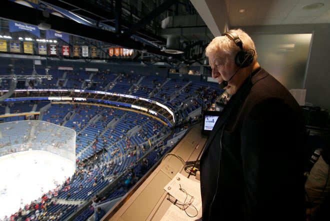 Nov 23, 2018; Buffalo, NY, USA; Buffalo Sabres play by play announcer Rick Jeanneret in the TV booth before announcing a game against the Montreal Canadiens at KeyBank Center. Mandatory Credit: Timothy T. Ludwig-USA TODAY Sports