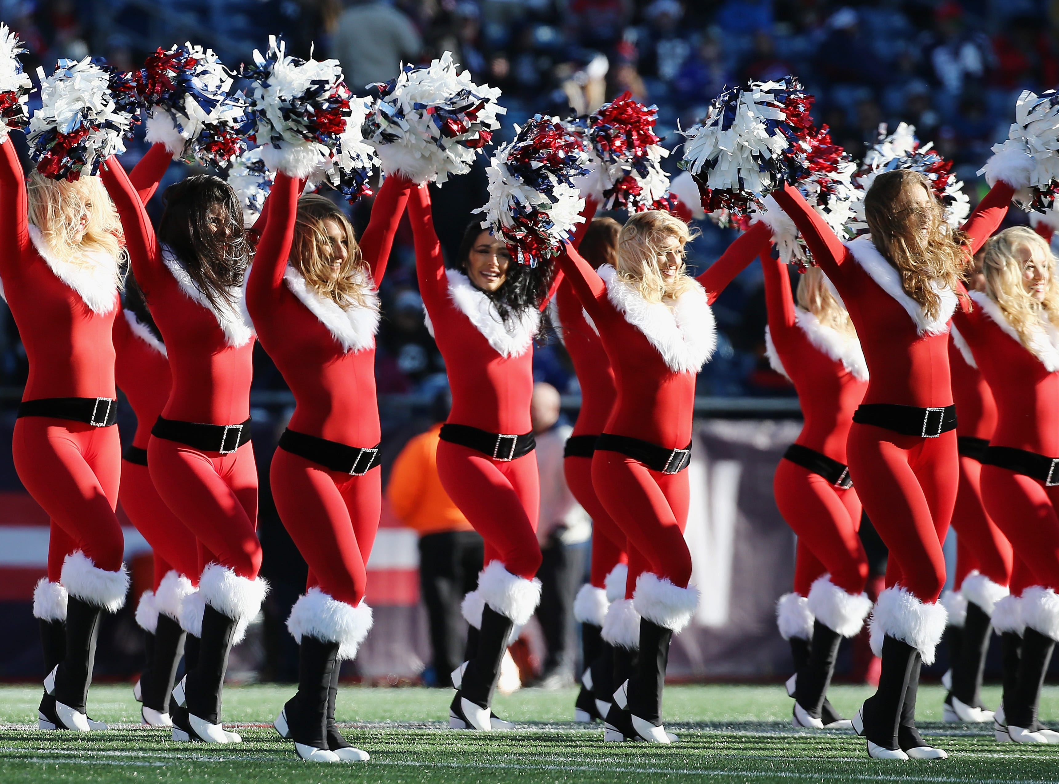 FOXBOROUGH, MA - DECEMBER 23:  New England Patriots cheerleaders perform during the first half of the game between the Buffalo Bills and the New England Patriots at Gillette Stadium on December 23, 2018 in Foxborough, Massachusetts.  (Photo by Jim Rogash/Getty Images)