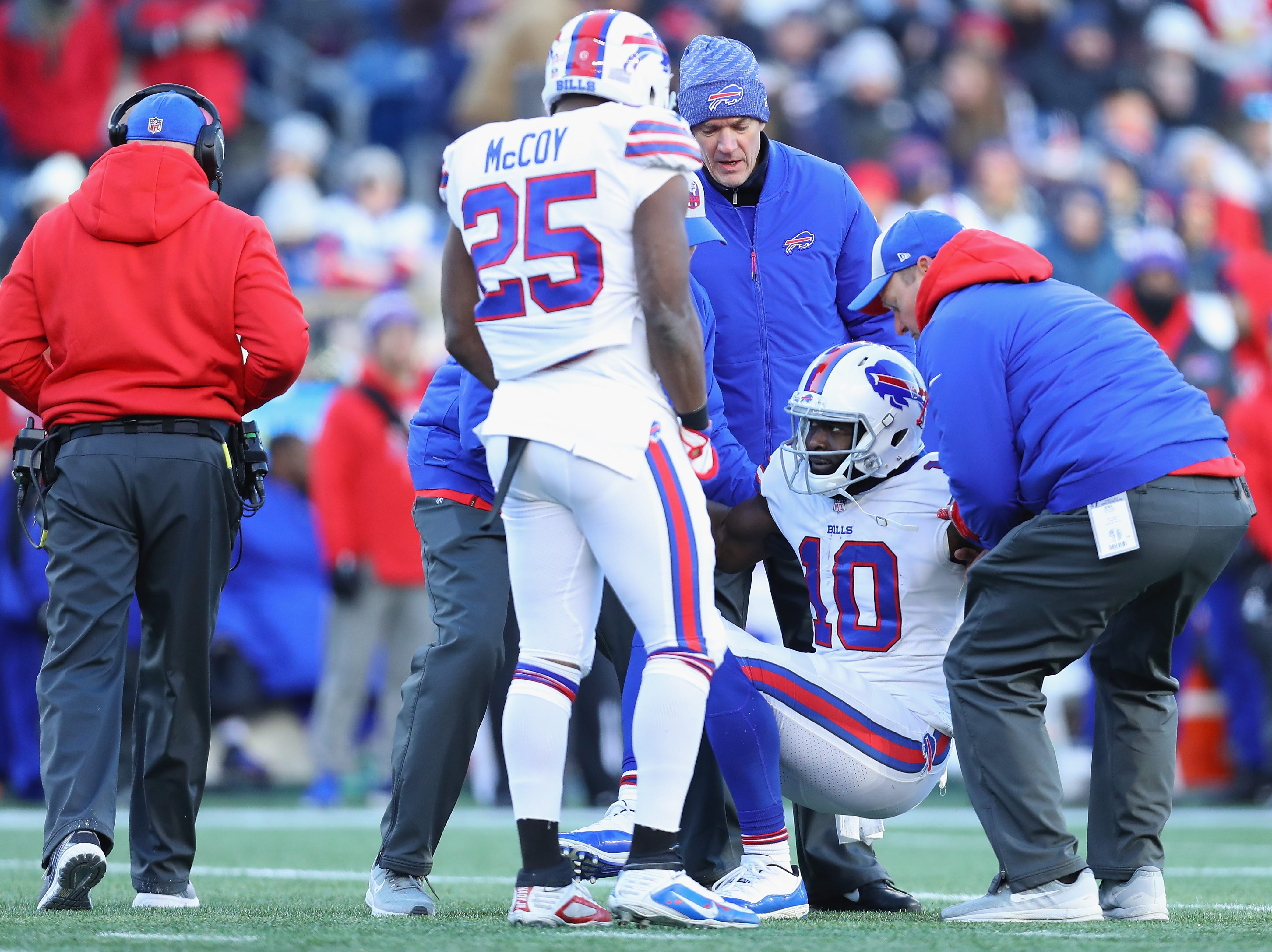 FOXBOROUGH, MA - DECEMBER 23:  Deonte Thompson #10 of the Buffalo Bills reacts after suffering an injury during the second half against the New England Patriots at Gillette Stadium on December 23, 2018 in Foxborough, Massachusetts.  (Photo by Maddie Meyer/Getty Images)