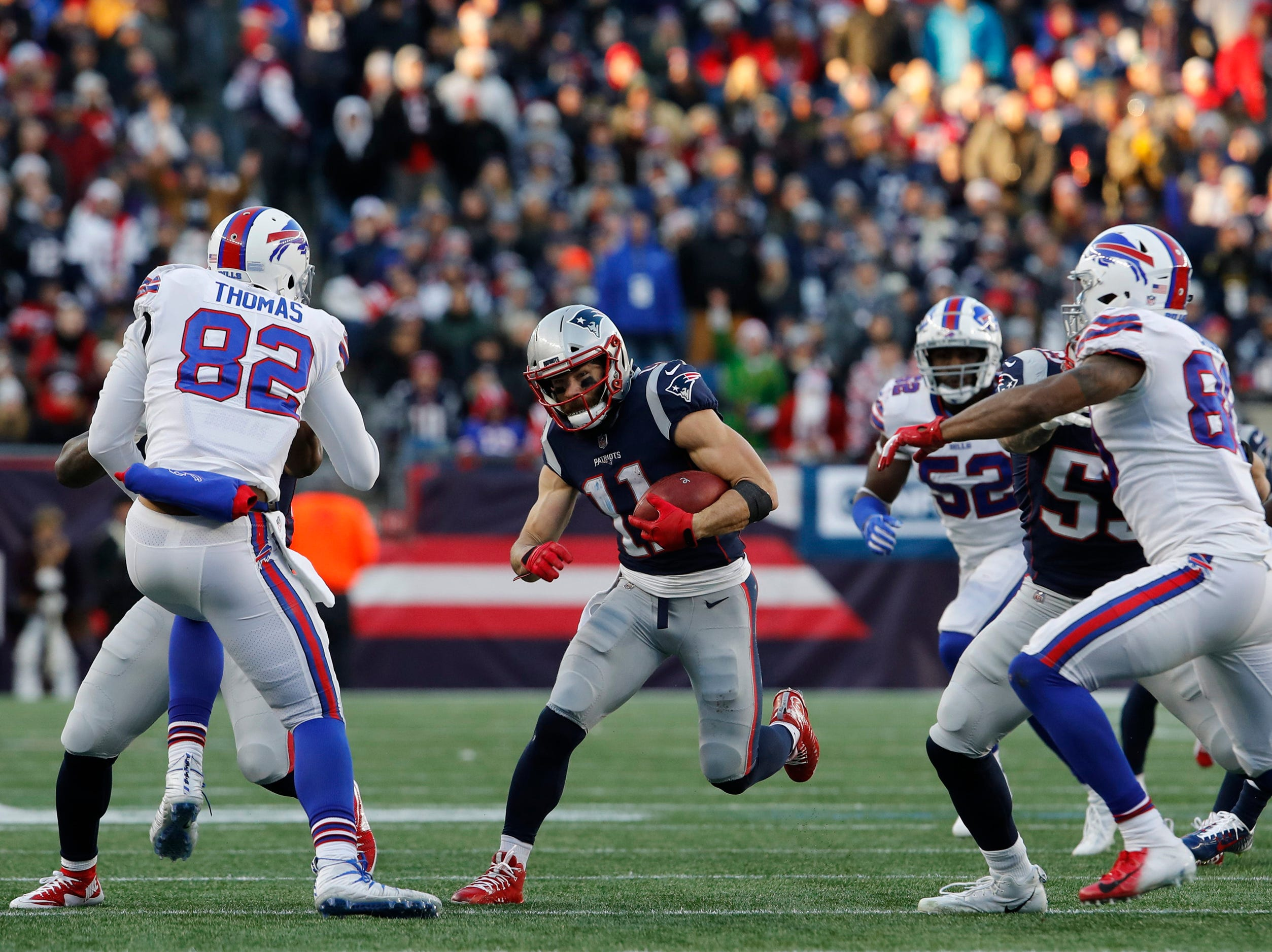 Dec 23, 2018; Foxborough, MA, USA; New England Patriots wide receiver Julian Edelman (11) runs the ball against the Buffalo Bills in the second half at Gillette Stadium. Patriots defeated the Bills 24-12. Mandatory Credit: David Butler II-USA TODAY Sports