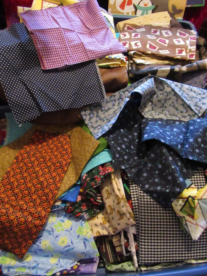 La Verne Redman has a vast collection of fabric pieces she uses to make her quilts at her home in Miles, Texas.