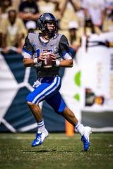 Duke quarterback Daniel Jones drops back to pass against Georgia Tech earlier this season.