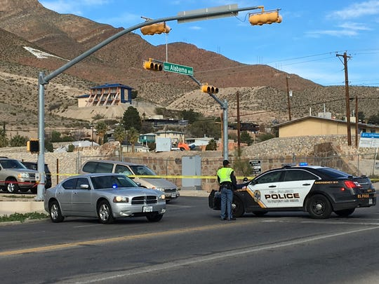 El Paso police block traffic on Alabama Street at Wheeling Avenue due to a pedestrian accident on Sunday morning.