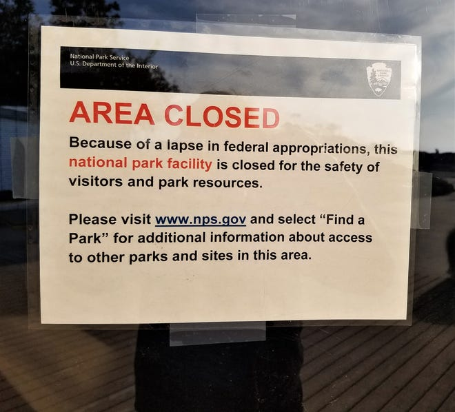 This sign was posted at the Channel Islands National Park visitor center at Ventura Harbor on Saturday. Although the visitor center was closed due to the government shutdown, the park itself was accessible to visitors.