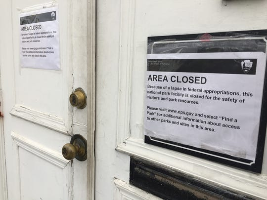 Papers posted on the doors at St. Paul's Church National Historic Site in Mount Vernon on Dec. 23, 2018. St. Paul's was closed as part of the federal government shutdown.