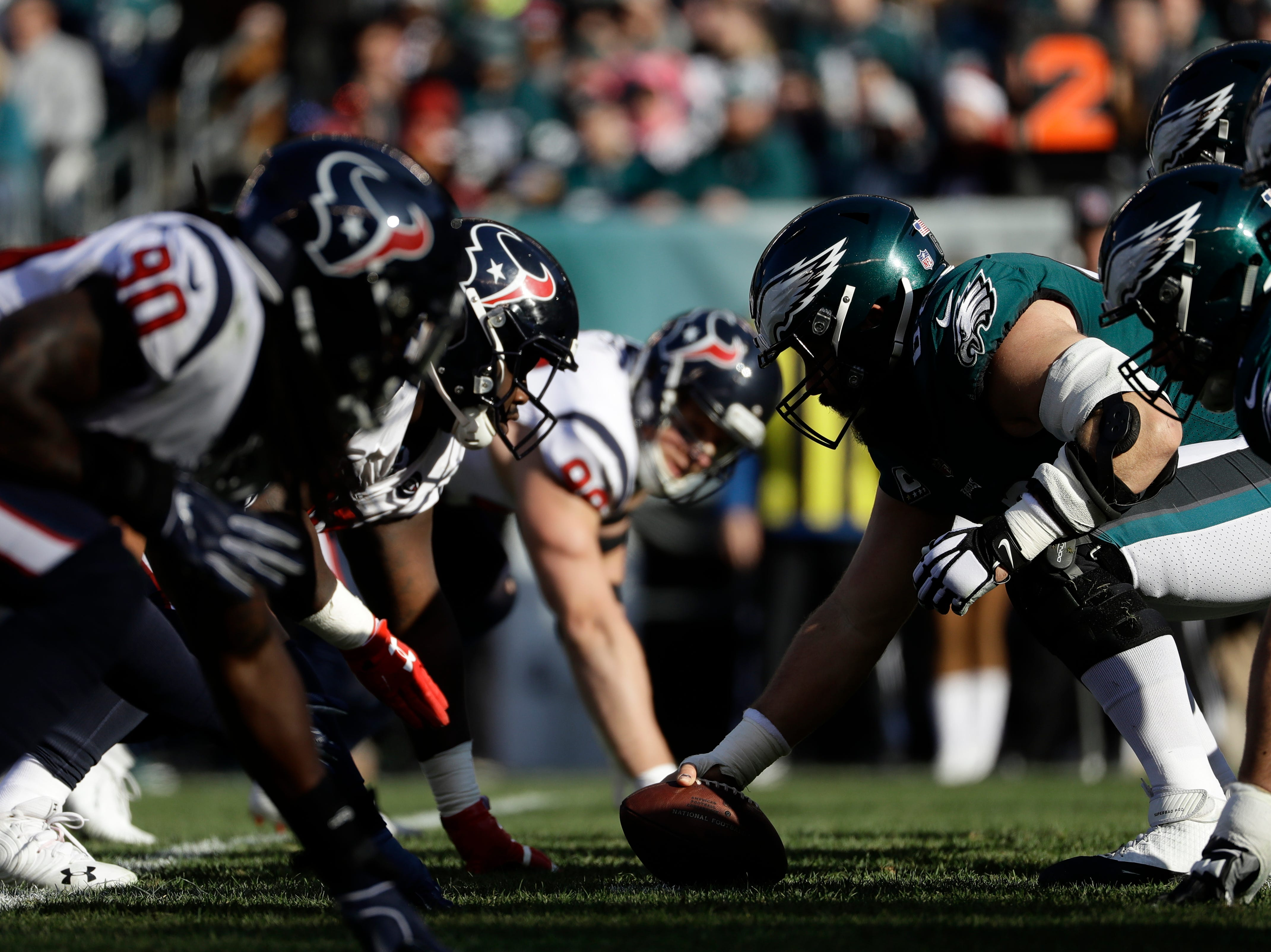 Philadelphia Eagles' Jason Kelce lines up to snap during the first half of an NFL football game against the Houston Texans, Sunday, Dec. 23, 2018, in Philadelphia. (AP Photo/Michael Perez)