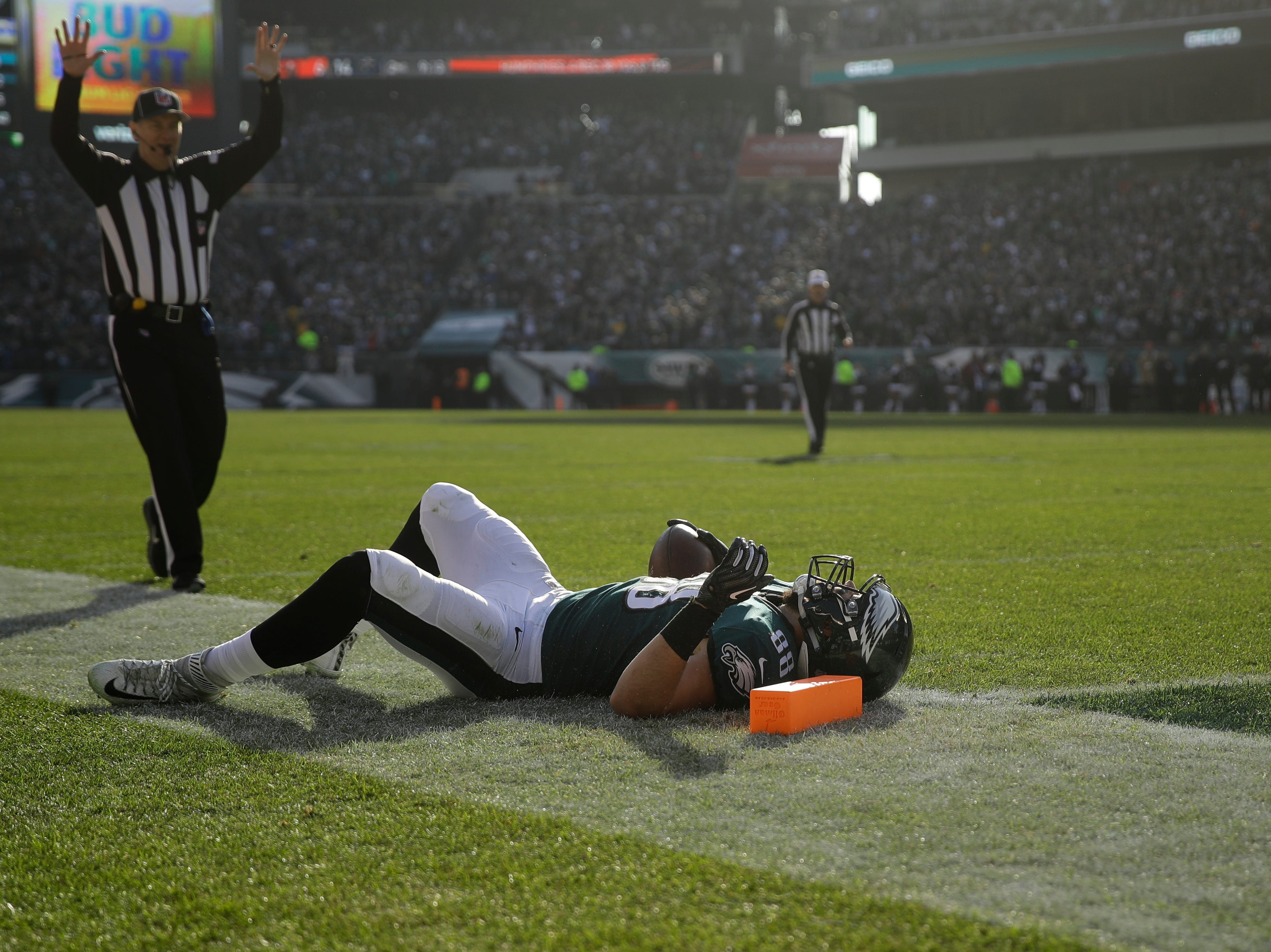 Philadelphia Eagles' Dallas Goedert reacts after missing a touchdown during the first half of an NFL football game against the Houston Texans, Sunday, Dec. 23, 2018, in Philadelphia. (AP Photo/Matt Rourke)
