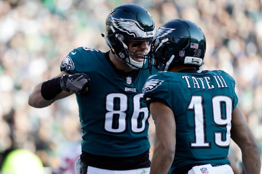 Philadelphia Eagles' Zach Ertz, left, celebrates with Golden Tate after a touchdown during the first half of an NFL football game against the Houston Texans, Sunday, Dec. 23, 2018, in Philadelphia. (AP Photo/Michael Perez)