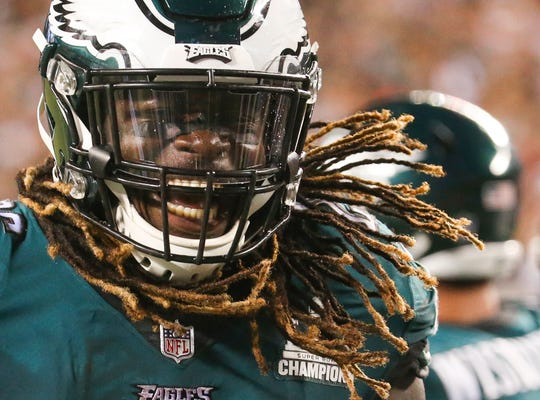 Eagles running back Jay Ajayi celebrates after his touchdown in the fourth quarter provided the difference in Philadelphia's 18-12 win against Atlanta in the NFL season-opener in Thursday Night Football at Lincoln Financial Field.