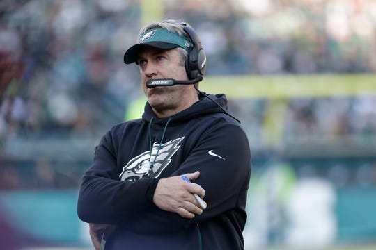 Philadelphia Eagles head coach Doug Pederson looks on from the sidelines during the first half of an NFL football game against the Houston Texans, Sunday, Dec. 23, 2018, in Philadelphia. (AP Photo/Michael Perez)