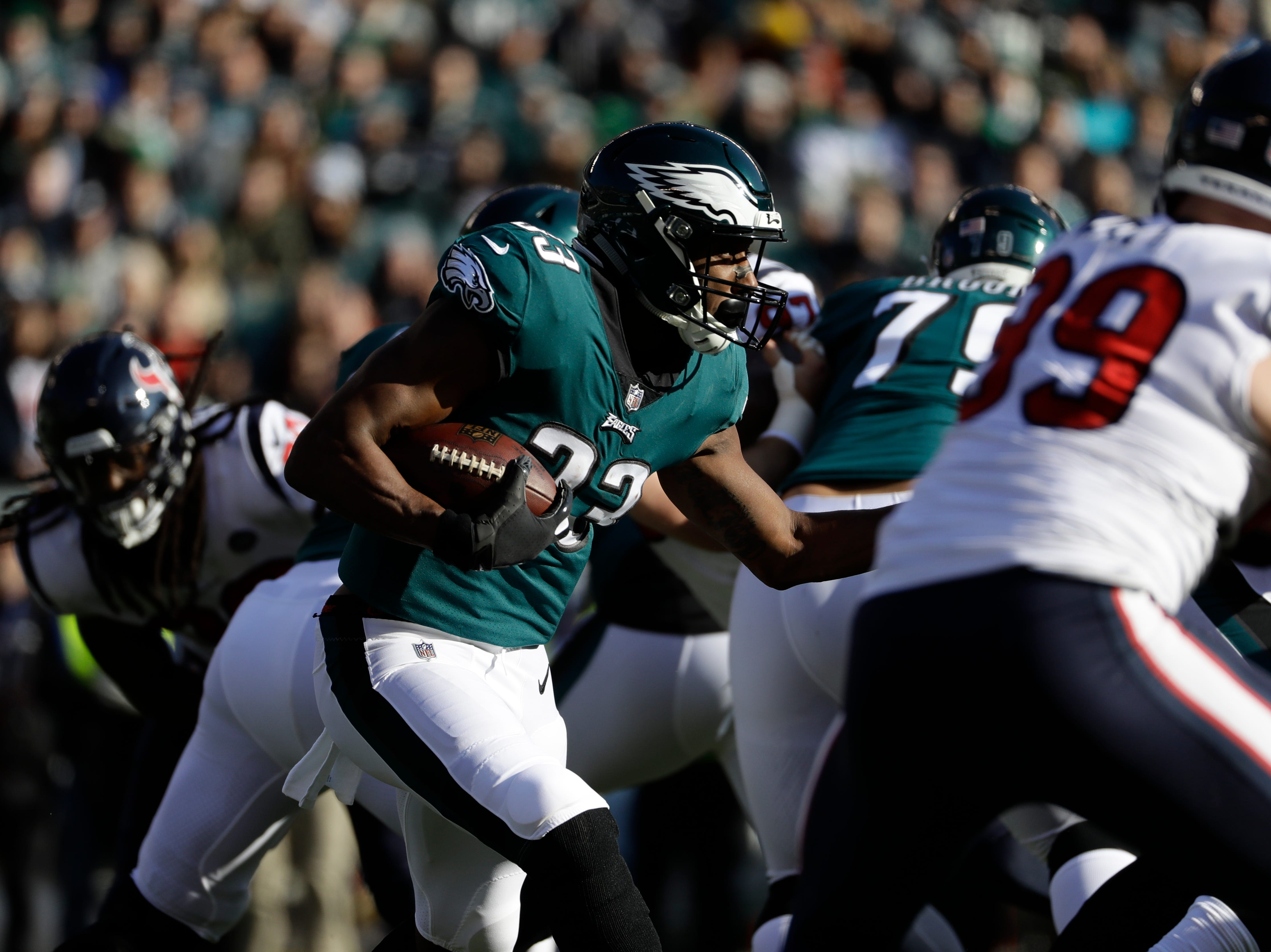 Philadelphia Eagles' Josh Adams rushes during the first half of an NFL football game against the Houston Texans, Sunday, Dec. 23, 2018, in Philadelphia. (AP Photo/Michael Perez)