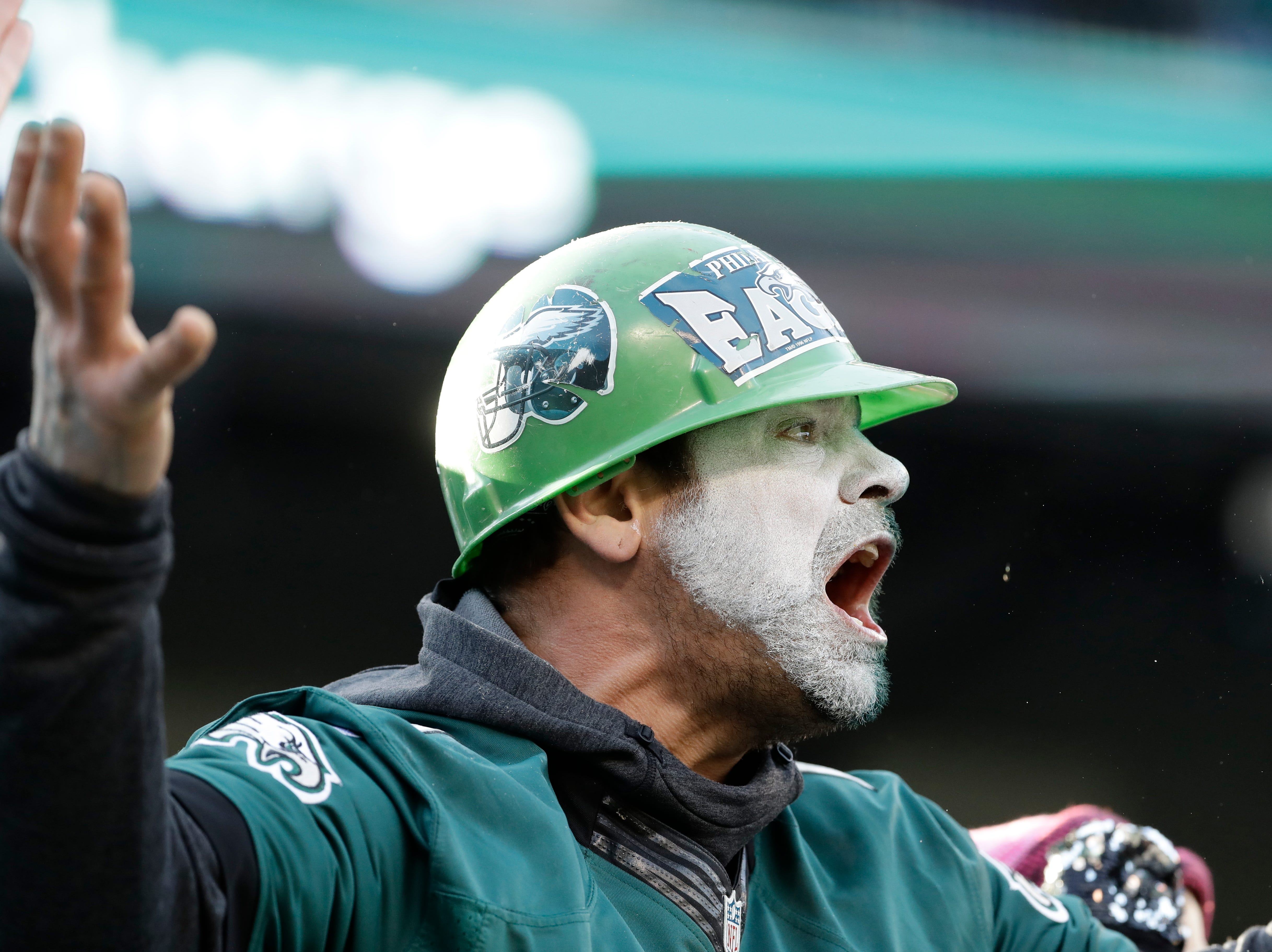 A Philadelphia Eagles' fan reacts to a call during the first half of an NFL football game against the Houston Texans, Sunday, Dec. 23, 2018, in Philadelphia. (AP Photo/Michael Perez)