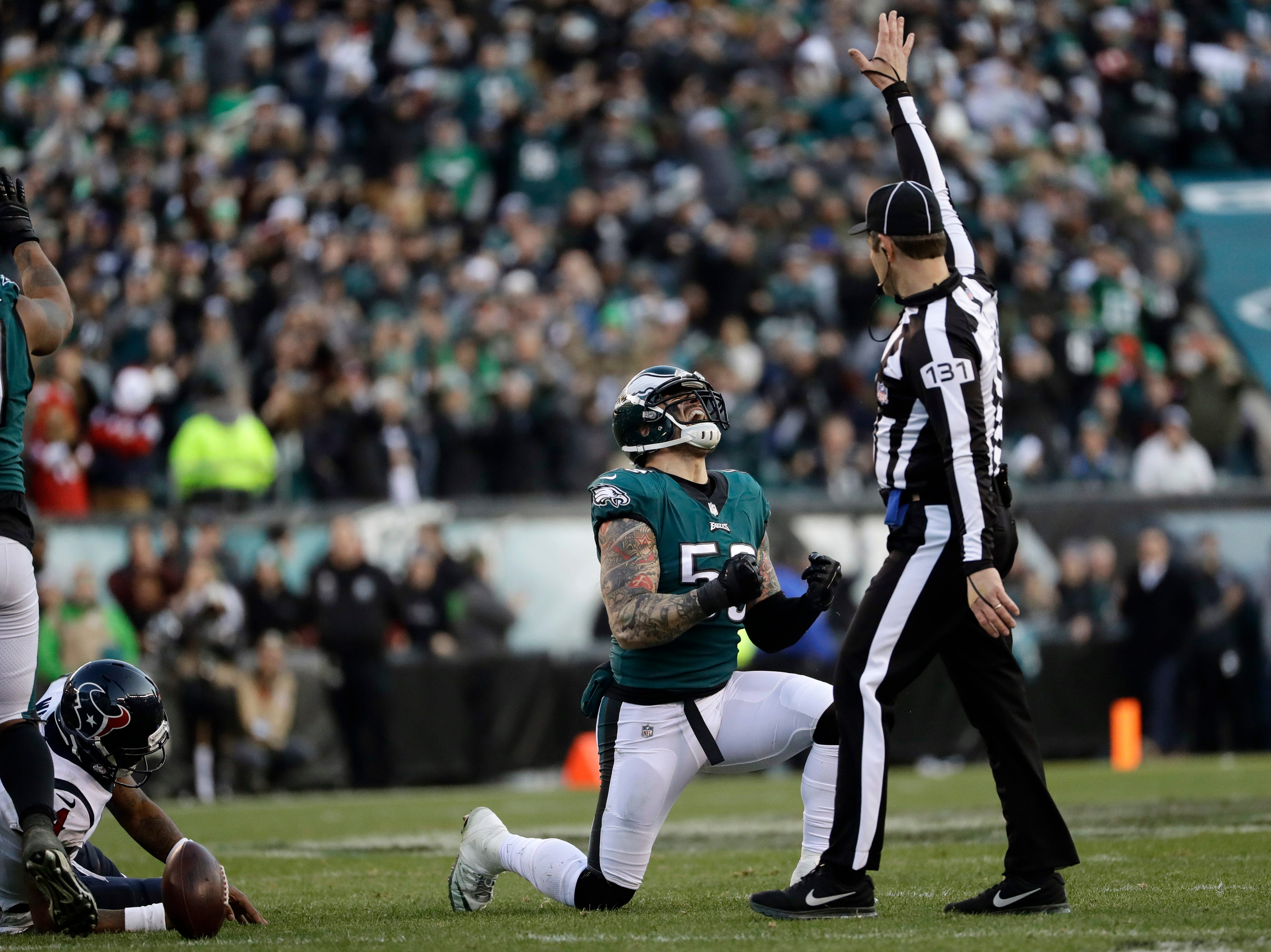 Philadelphia Eagles' Chris Long reacts after a sack during the second half of an NFL football game against the Houston Texans, Sunday, Dec. 23, 2018, in Philadelphia. (AP Photo/Michael Perez)