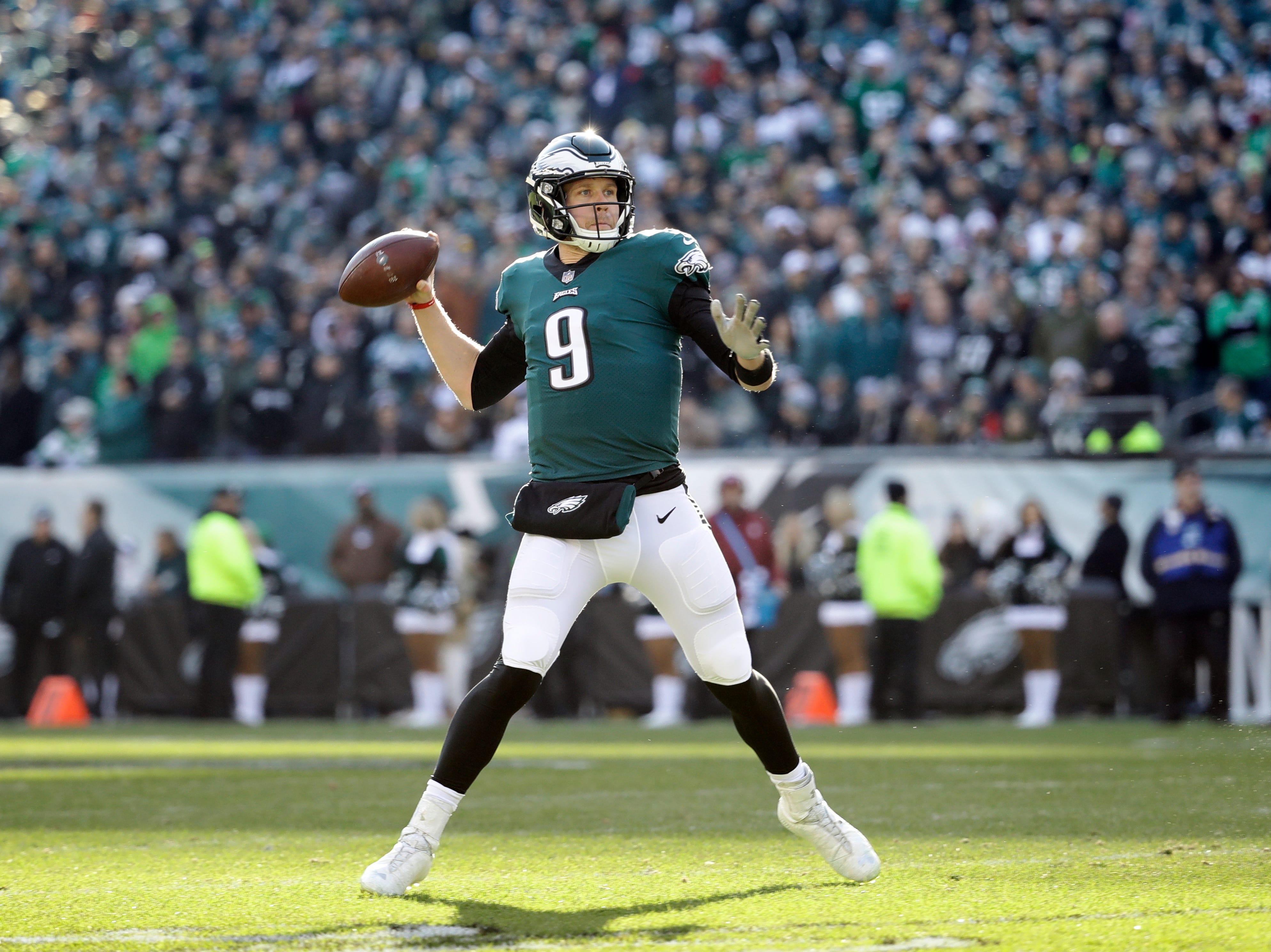 Philadelphia Eagles' Nick Foles in action during the first half of an NFL football game against the Houston Texans, Sunday, Dec. 23, 2018, in Philadelphia. (AP Photo/Matt Rourke)