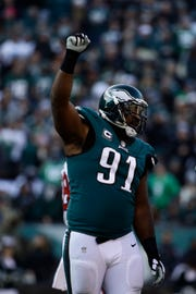 Philadelphia Eagles' Fletcher Cox reacts during the second half of an NFL football game against the Houston Texans, Sunday, Dec. 23, 2018, in Philadelphia. (AP Photo/Matt Rourke)