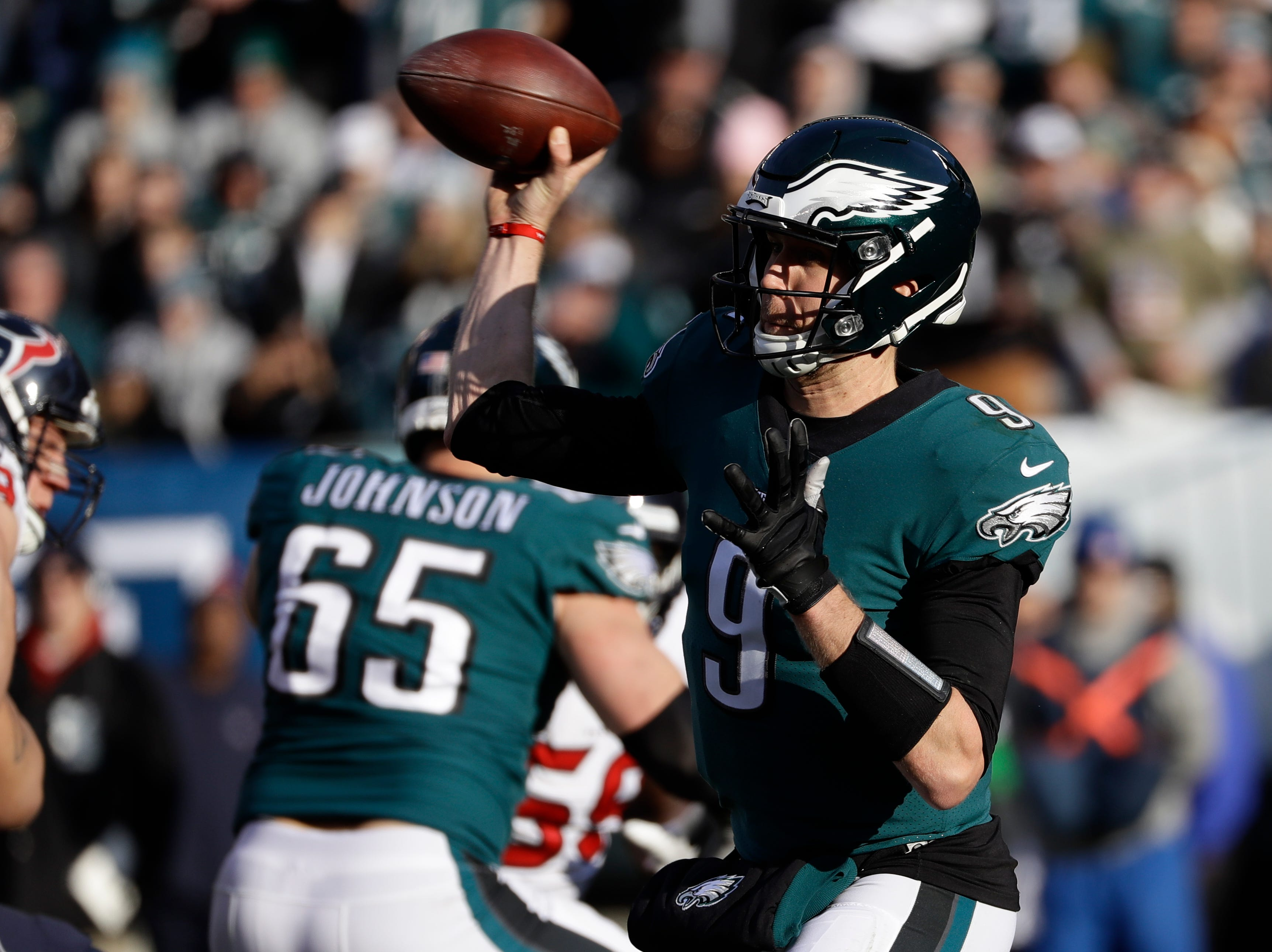 Philadelphia Eagles' Nick Foles in action during the first half of an NFL football game against the Houston Texans, Sunday, Dec. 23, 2018, in Philadelphia. (AP Photo/Michael Perez)