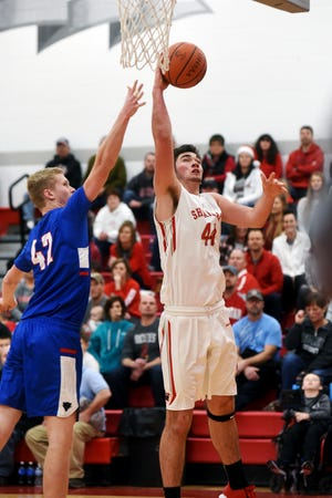 Sheridan's Grant Heileman goes up for a shot in the lane against Licking Valley. Heileman, a senior, scored a career-high 27 points with 10 rebounds as the Generals improved to 8-0 with a 66-53 win at Glen Hursey Gymnasium.