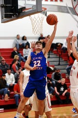Caleb Thomas scores inside for visiting Licking Valley during a 66-53 loss to Sheridan on Saturday night at Glen Hursey Gymnasium. It was the Panthers' first loss of the season.