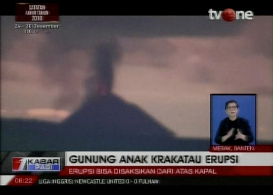 This image made from video shows Anak Krakatau volcano erupting in Indonesia, Saturday, Dec. 22, 2018. A tsunami apparently caused by the eruption of an island volcano hit the coast around Indonesia's Sunda Strait, sending a wall of water some 65 feet (20 meters) inland and damaging hundreds of houses including hotels, the government and witnesses said.