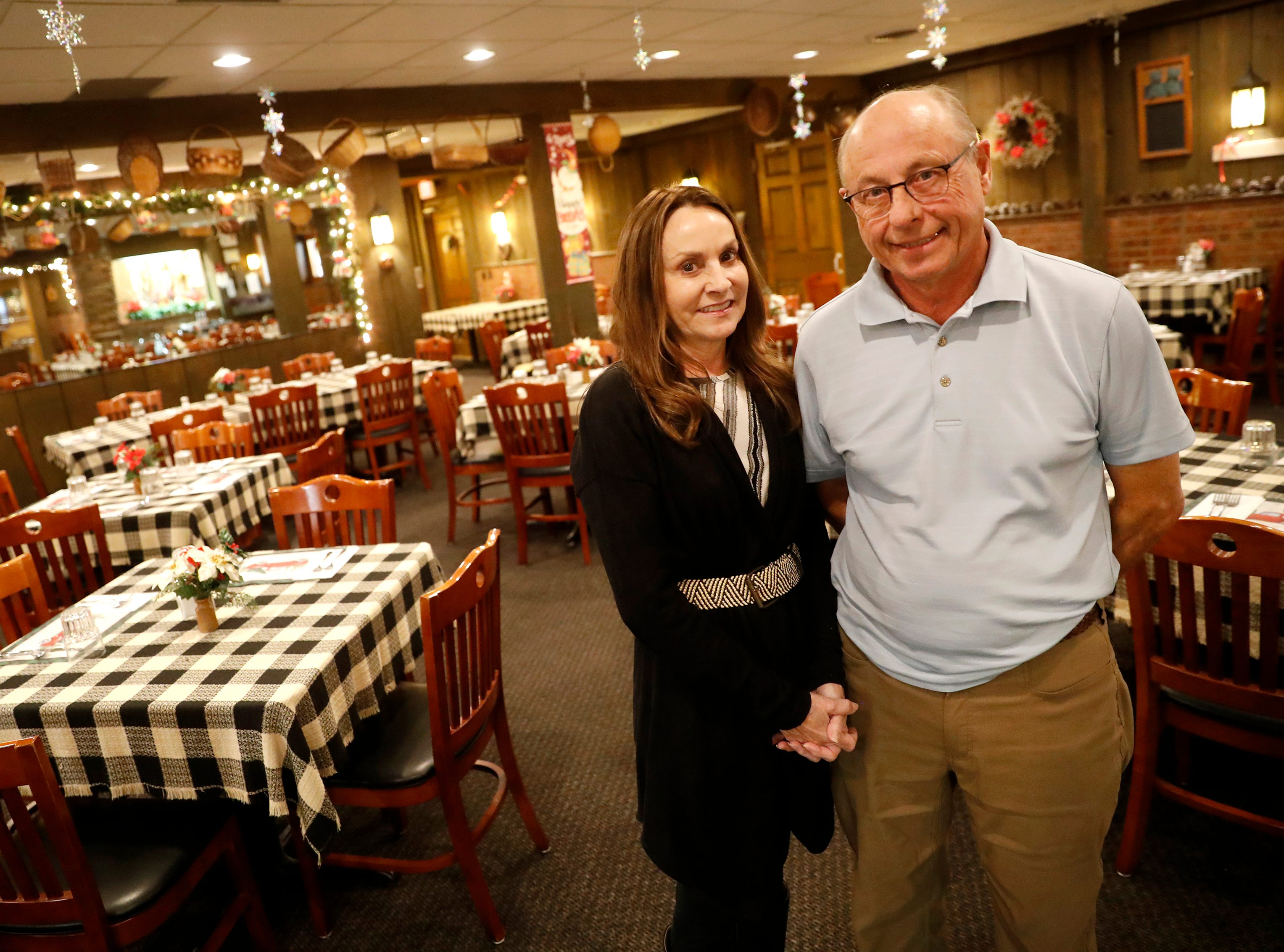 Barb and John Roepke, owners of Roepke's Village Inn, stand for a portrait in the dining room of their supper club Wednesday, Dec. 12, 2018, in Charlesburg, Wis.Danny Damiani/USA TODAY NETWORK-Wisconsin
