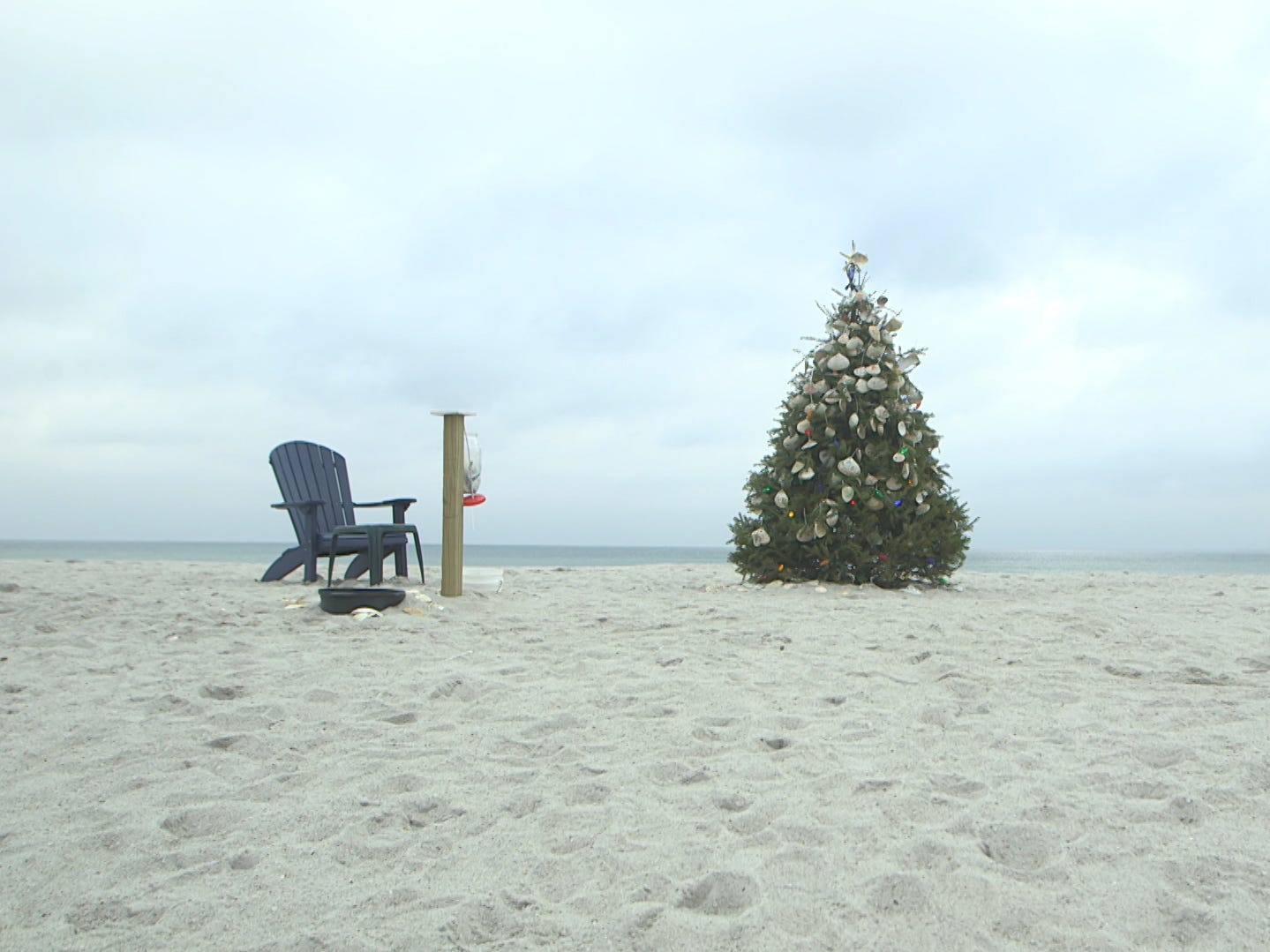 The Normandy Beach Chritmas tree has been set-up by locals since 2012