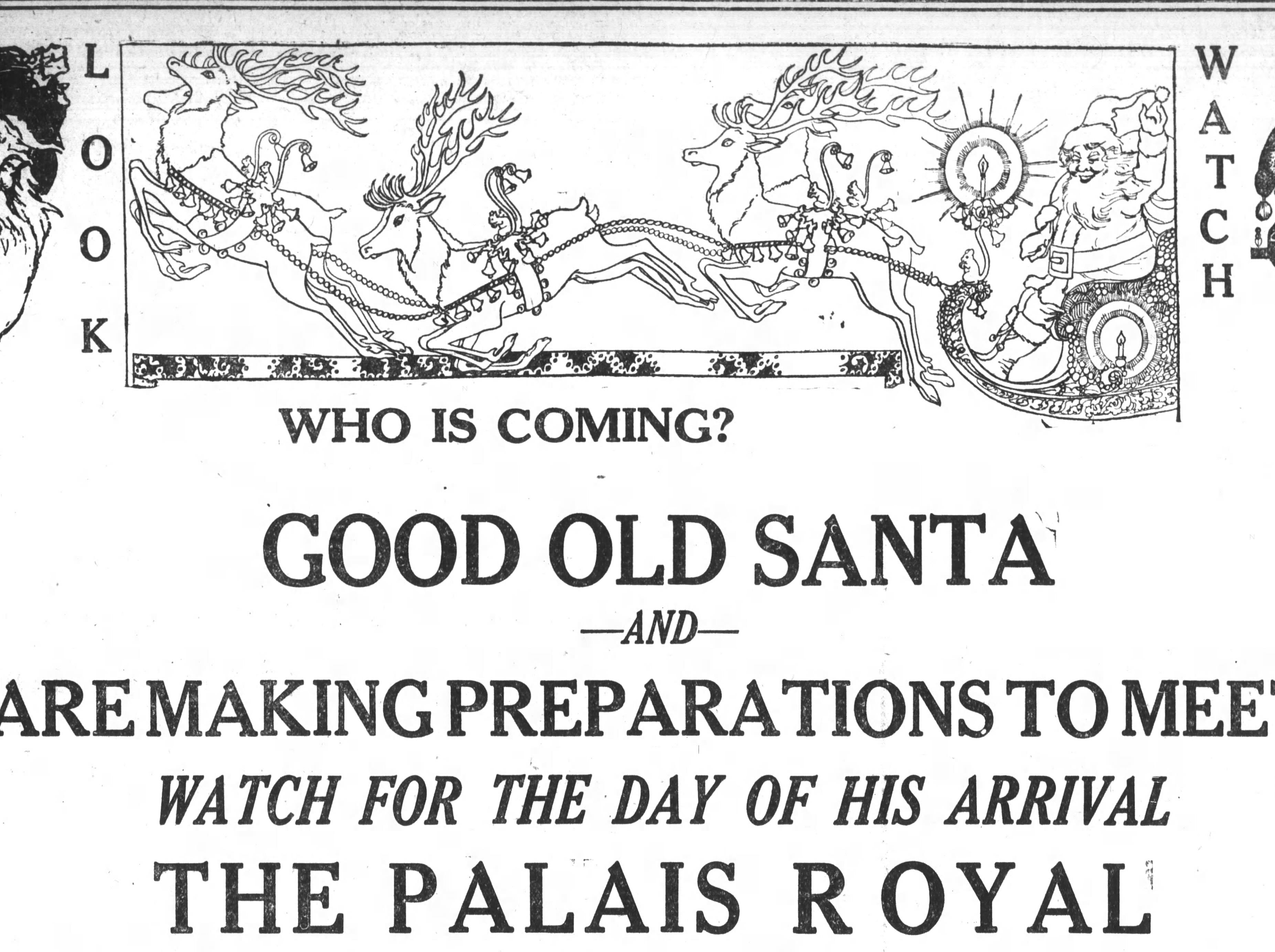 A 1921 advertisement in the Asheville Citizen detailing an upcoming visit from Santa Claus at The Palais Royal, a former store in downtown Asheville.