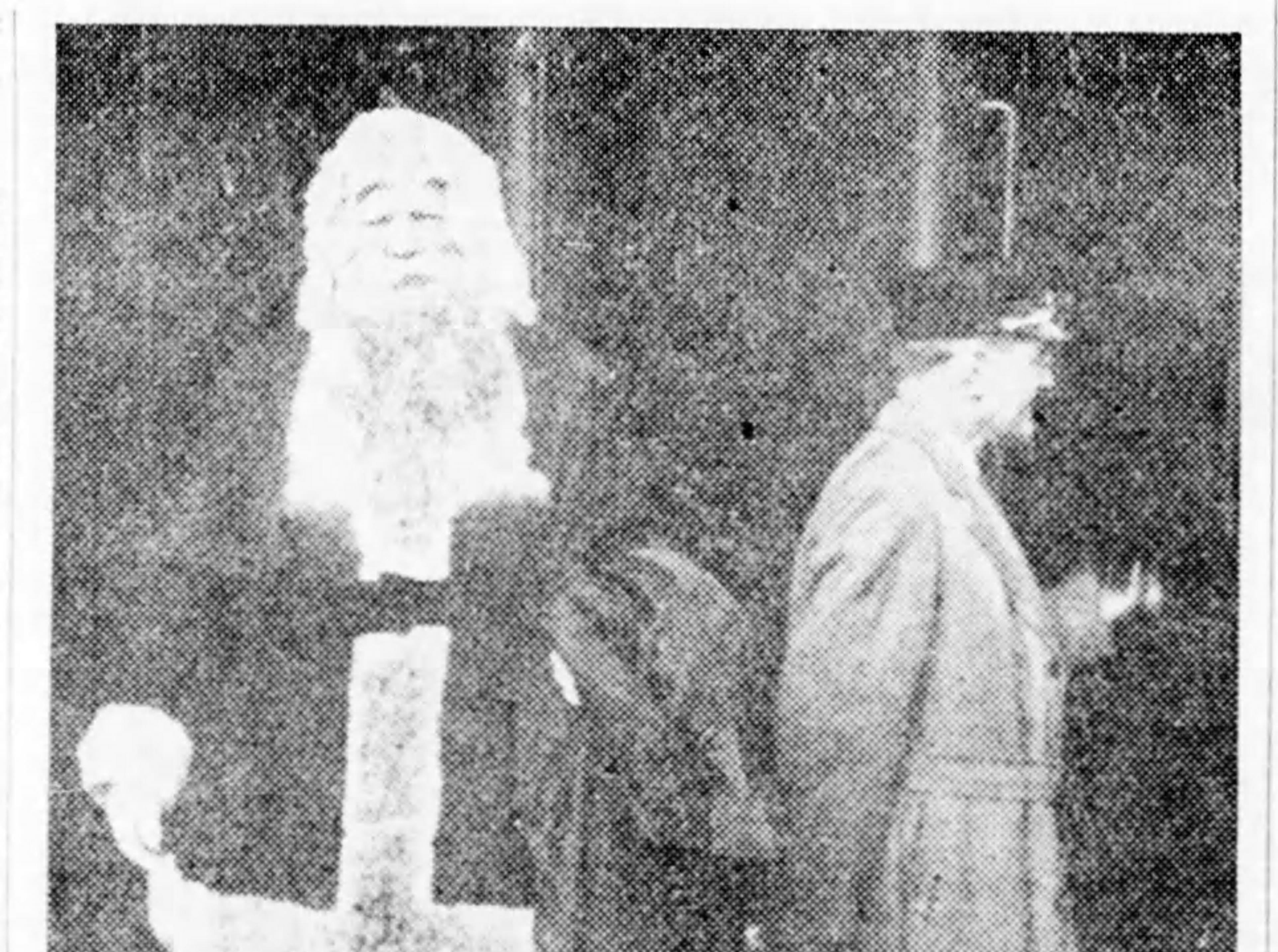 "Santa Claus arrived in Asheville on Nov. 20, 1937 for a pre-Christmas visit with children in the community. He was the ""main attraction"" in a parade to celebrate his arrival by trail in a route that led to downtown Asheville's Pack Square."