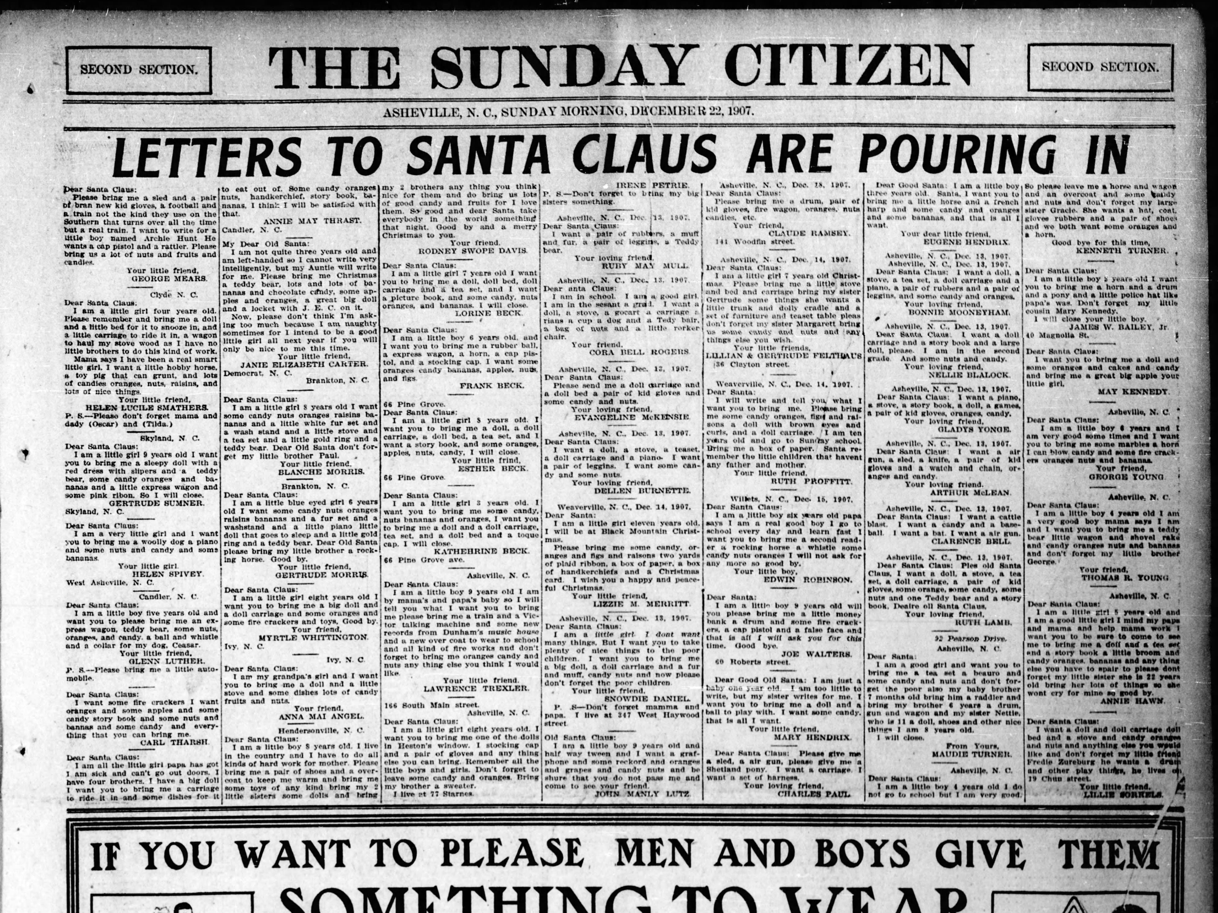 Santa Claus mail at the Asheville Citizen office in a December 1907 newspaper.