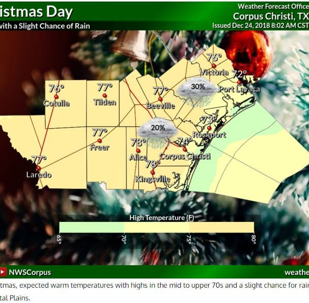 This is how warm it will be in the Coastal Bend on Christmas Day
