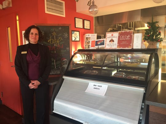 Carrie Kitchen-Santiago welcomes a tour through CK Cafe, the cafe run by Cathedral Kitchen and open to the public in Camden. Kitchen-Santiago is the new director of the Federal Street non-profit, having taken over upon the retirement of founding director Karen Talarico.