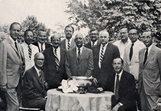 Thirty years later in 1972, a picture was taken of some of the Carrier Pigeon subscribers. Seated, from left, are Stanley M. Rowe Jr. and H. Truxtun Emerson Jr.  Standing, from left, are Laurence L. Davis, David Pollak, Frederick H. Chatfield, John Warrington, William S. Rowe, Alfred W. Lamson, Douglas A. Warner Jr., Henry H. Chatfield, John J. Rowe Jr., Robert L. Black Jr. and John R. Deupree. Emerson and Black are former mayors of Indian Hill.