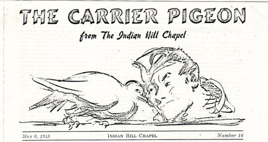 "The famous artist Charles Dana Gibson designed masthead for ""The Carrier Pigeon"" in 1942."