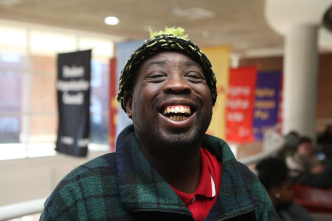 Carlos Moss smiles during the Radical Mission's annual Warm Souls event at APSU's Morgan University Center on Christmas Eve, Dec. 24, 2018.