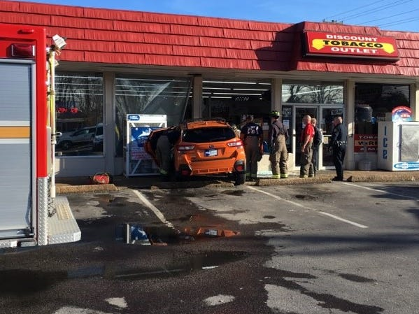 Clarksville Police report no injuries after a driver accidentally hit the accelerator and drove into the side of Discount Tobacco on Dover Road on Christmas Eve 2018.