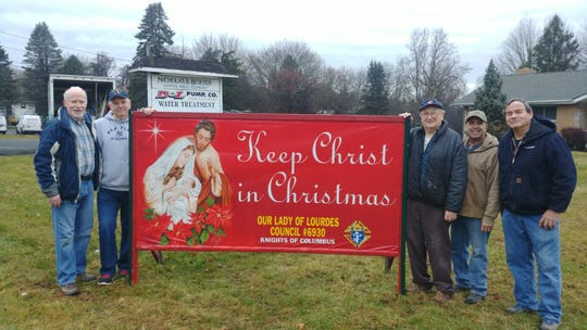 """The Knights of Columbus Council 6930 Our Lady of Lourdes, Whitehouse Station,put up signs at a few locations to remind all the true meaning of the season and to """"Keep Christ in Christmas."""" Pictured are: Dan Murphy, Jim Siessel, Eugene Brenycz, Chris Virgo and Mark Donahue."""