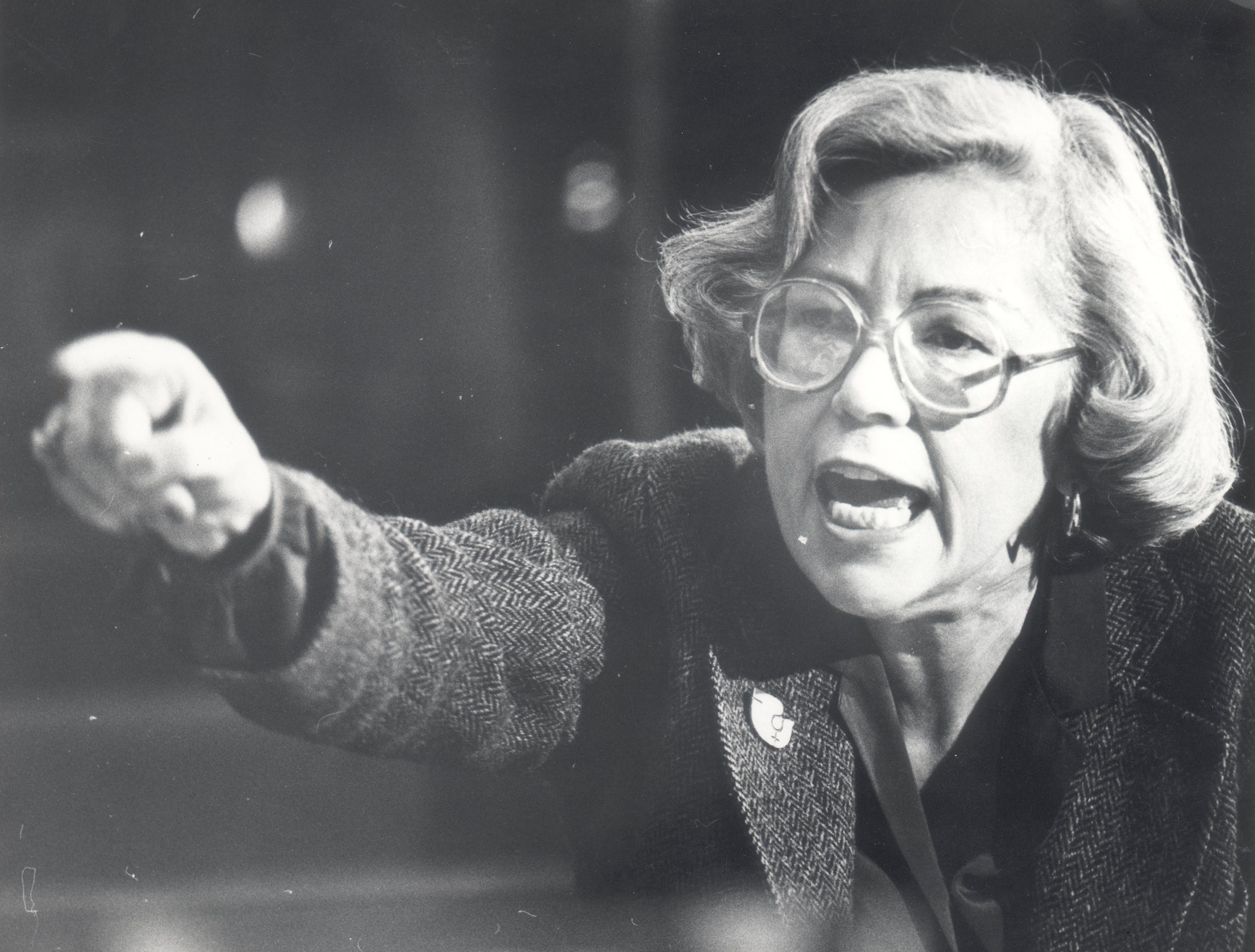 In this 1981 photo from the Detroit Free Press archive, Detroit City Council President Pro-Tem Maryann Mahaffey shows her feelings about Reaganomics as she comments at a hearing.