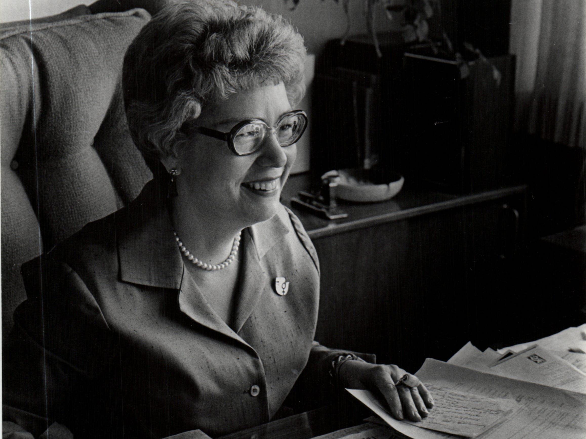 A photo of Maryann Mahaffey from the Detroit Free Press archive. Mahaffey's mentees are urging the City of Detroit and Wayne State University to honor Mahffey by naming a building after her.
