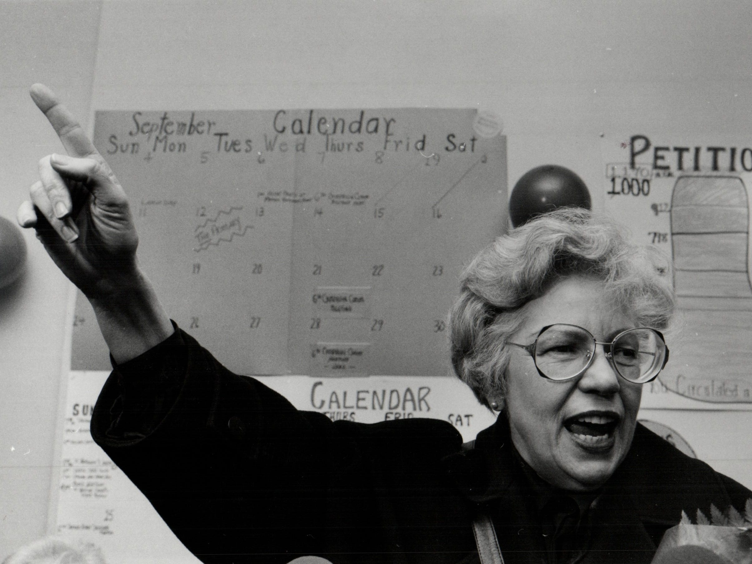 In this 1989 photo from the Detroit Free Press archive, Maryann Mahaffey responds to the cheers of supporters shortly after arriving at her campaign headquarters in Detroit late Tuesday. She won the presidency of the Detroit City Council in the election.