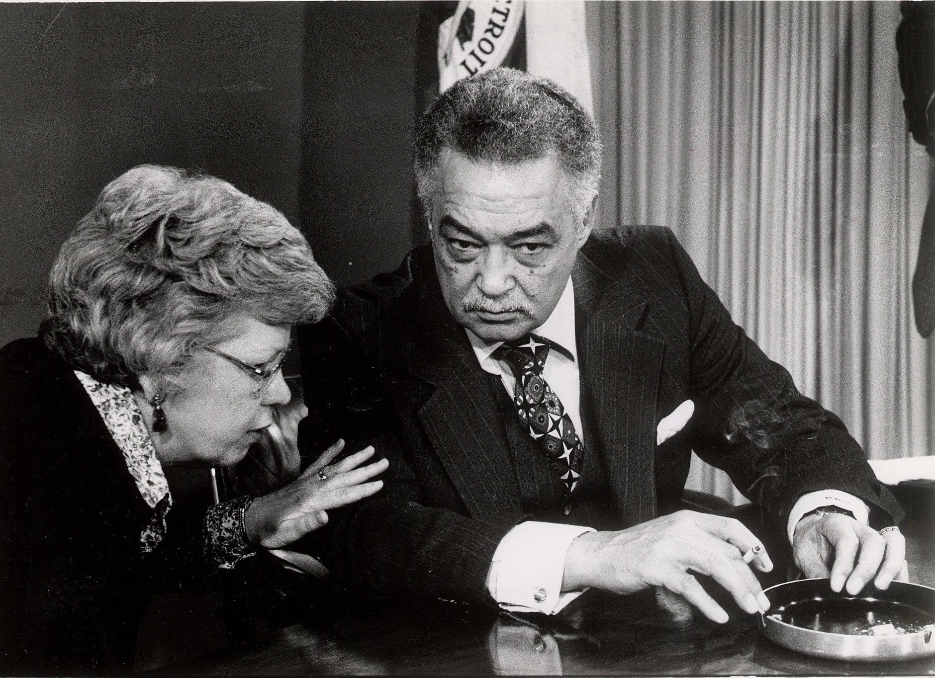 Maryann Mahaffey and Detroit Mayor Coleman Young chat on March 20, 1979.