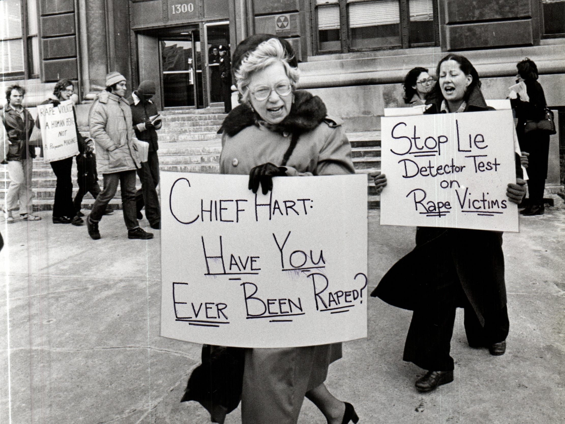 In this archive photo, Maryann Mahaffey on the picket line in a protest against the Police Sex Crime Unit.